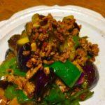 茄子とピーマン、豚ひき肉のピリ辛豆豉炒め