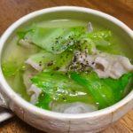 豚バラ肉とレタスの和風スープ